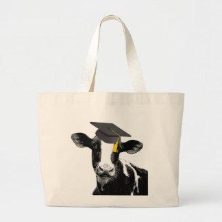 Vaca divertida de la graduación de la enhorabuena  bolsa tela grande