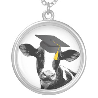 Vaca divertida de la graduación de la enhorabuena  colgante redondo