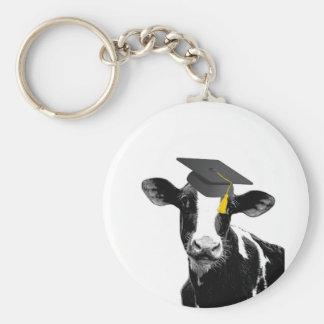 Vaca divertida de la graduación de la enhorabuena  llavero redondo tipo pin