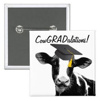 Vaca divertida de la graduación de la enhorabuena  pin