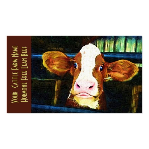 Vaca divertida de la ternera del rancho de ganado tarjetas de visita