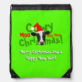 Vaca divertida de Santa del navidad de Cowy Mochilas