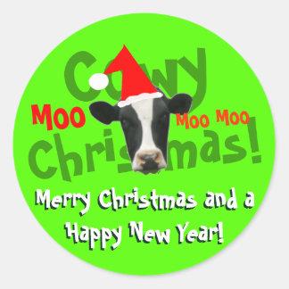 Vaca divertida de Santa del navidad de Cowy Pegatina Redonda