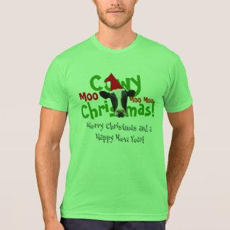 Vaca divertida de Santa del navidad de Cowy Playera