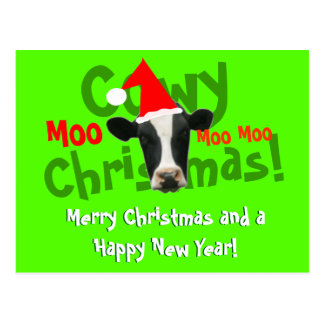 Vaca divertida de Santa del navidad de Cowy Postal