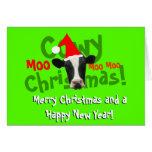Vaca divertida de Santa del navidad de Cowy Tarjeta De Felicitación