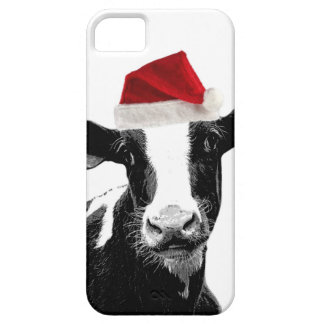 Vaca divertida de Santa del navidad iPhone 5 Case-Mate Cárcasa