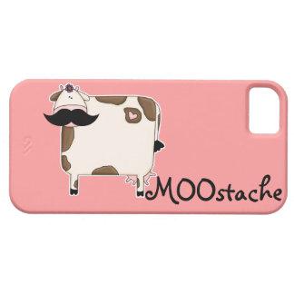 vaca divertida del bigote de MOOstache iPhone 5 Fundas