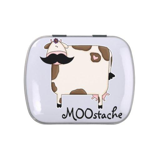 vaca divertida del bigote de MOOstache Latas De Dulces