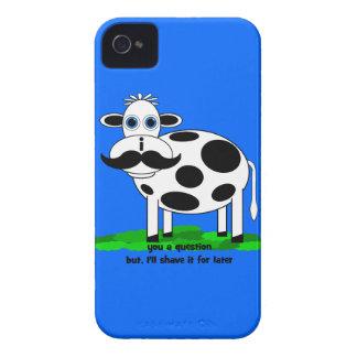 vaca divertida del bigote iPhone 4 carcasas