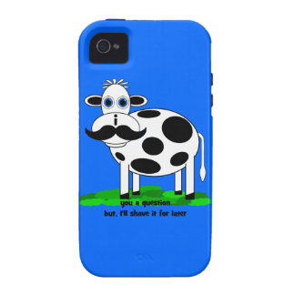 vaca divertida del bigote Case-Mate iPhone 4 carcasa