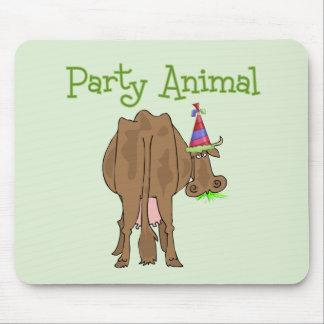 Vaca divertida del cumpleaños del juerguista alfombrilla de ratón