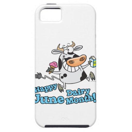 vaca divertida del dibujo animado de junio del mes iPhone 5 carcasa