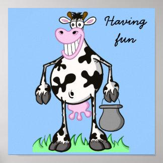"Vaca divertida del ""dibujo animado"" del POSTER"