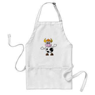 Vaca divertida del dibujo animado delantales