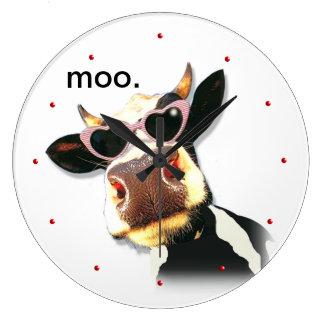 Vaca divertida - MOO Reloj Redondo Grande