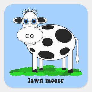 vaca divertida pegatinas cuadradas personalizadas
