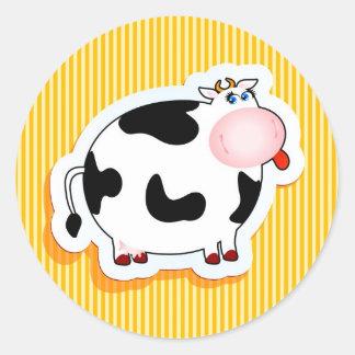 Vaca divertida pegatina redonda