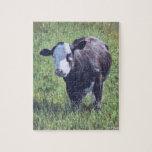 Vaca en hierba rompecabeza con fotos