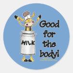 Vaca en poder de la leche pegatinas redondas