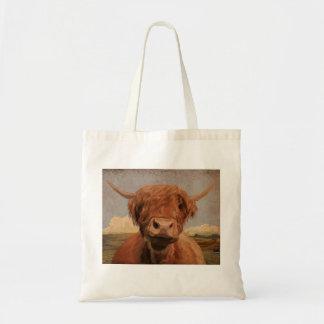 Vaca escocesa de la montaña bolsa tela barata