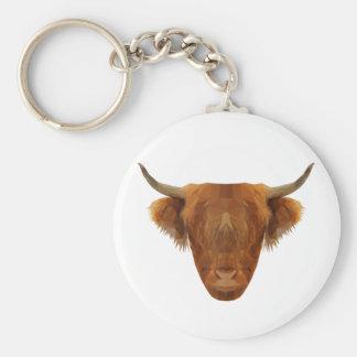 Vaca escocesa del animal de Escocia del ganado de Llavero Redondo Tipo Pin