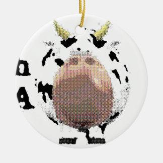 vaca fantástica adorno navideño redondo de cerámica