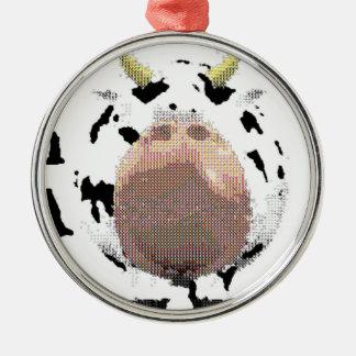 vaca fantástica adorno navideño redondo de metal