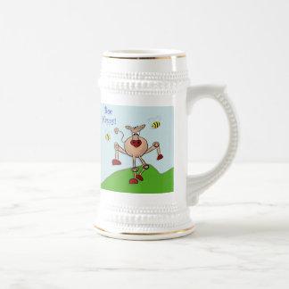 Vaca feliz de la abeja jarra de cerveza