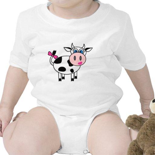 Vaca feliz del chica camiseta