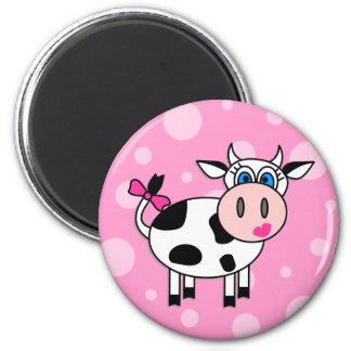 Vaca feliz del chica imán de nevera