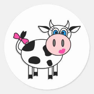 Vaca feliz del chica etiquetas