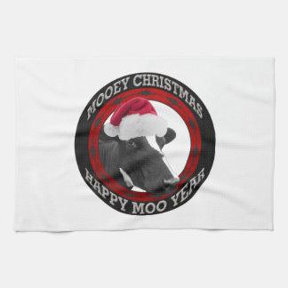 Vaca feliz del gorra de Santa del año del MOO del Toalla De Mano
