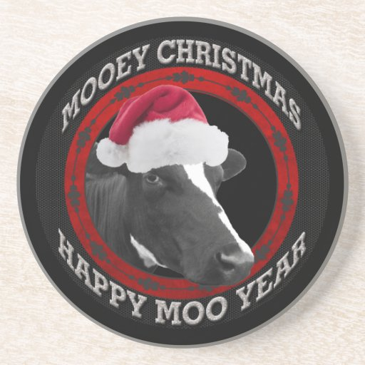 Vaca feliz del gorra de Santa del año del MOO del  Posavasos Para Bebidas