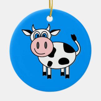 Vaca feliz del muchacho adorno navideño redondo de cerámica