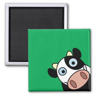 Vaca feliz imán cuadrado