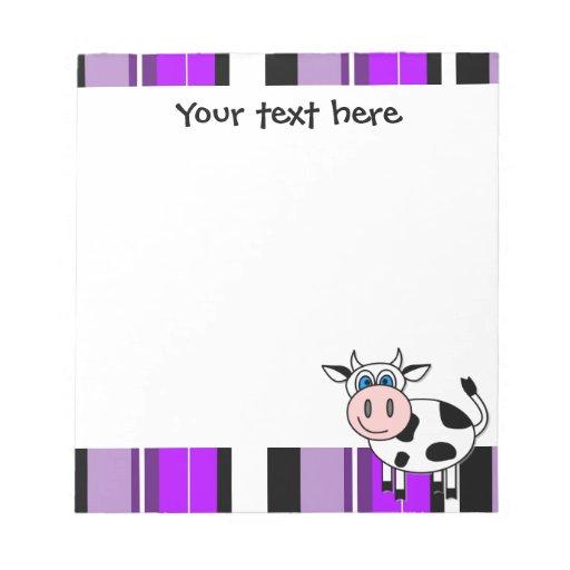 Vaca feliz linda Notepade - raya púrpura Bloc De Papel