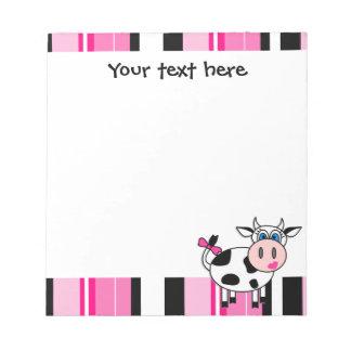 Vaca feliz linda Notepade - raya rosada del chica Blocs De Papel