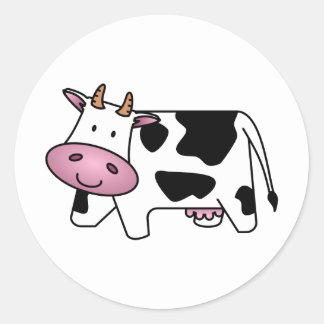 Vaca feliz etiqueta redonda