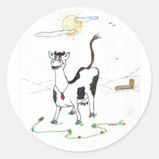 Vaca feliz pegatina redonda