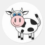 ¡Vaca feliz - personalizable! Etiquetas Redondas