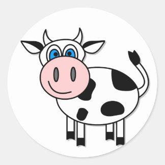 ¡Vaca feliz - personalizable! Pegatina Redonda