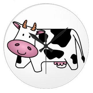 Vaca feliz reloj redondo grande