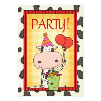Vaca - fiesta del cumpleaños del niño invitaciones personalizada