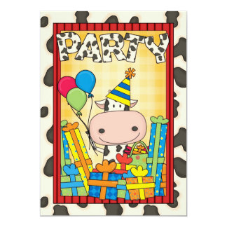 """Vaca - fiesta del cumpleaños del niño invitación 5"""" x 7"""""""