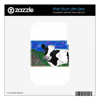 Vaca, granja, animal, becerro rural, pintado a iPod touch 4G calcomanías