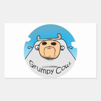 Vaca gruñona rectangular pegatinas