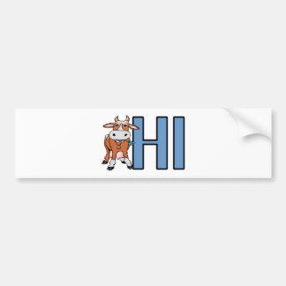 Vaca hola pegatina de parachoque