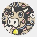 Vaca Kitschy del MOO de la lechería del arte pop Etiqueta Redonda