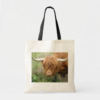 Vaca lanuda de la montaña bolsa tela barata